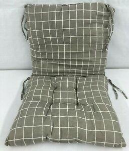"""Grey & White Grid Patterned Zipper Connected Seat Cushion Set w/Ties 17"""" x 17"""""""