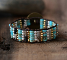 Natural Beaded Wrap Cuff Bracelet, Leather Oblong Turquoise Jasper, Seed Beads