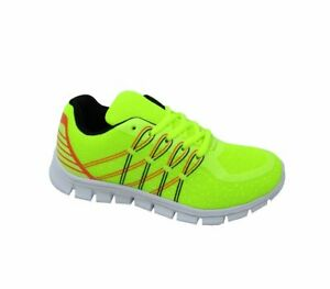 Boys Girls Kids Neon Florescent Sports Trainers Gym School Shoes Sizes 12 - 5