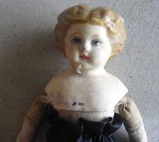 "Antique 1890s Wax over Composition Pumpkin Head Cloth Girl Doll 13"" Tall"