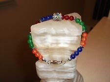 "Women 8"" 8 mm Rainbow Jade Tibetan silver beaded bracelet"