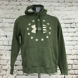 Under Armour Men's Hoodie Loose Sweatshirt Army Green Starts Stripes Size L FLAW