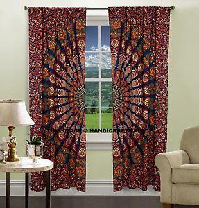 Indien Paon Tapisserie Mandala Porte Rideaux Coton Tissu Décor Fenêtre Rideaux