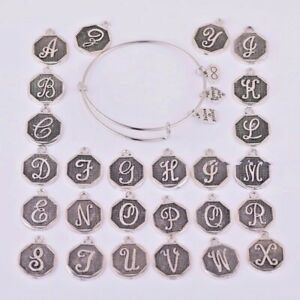 Alex and Ani - Expandable SILVER BANGLE WRAP Retired A-Z Initial Letter for GIFT