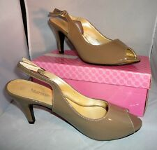 New - Ladies Marwan Open Toe Sling Back Mink Patent Shoe Uk 6.5 EU 39
