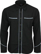 Relco Plain Black Western Cowboy with Sky Blue Piping Long Sleeved Shirt