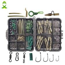 Fishing Tackle Box Carp Kit Beads Hooks Swivels Lead Set Clips Tubes 160pcs/lot