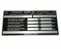 Mercedes Benz Chassis Data Plate For Mercedes 170 220 300 Models @AU