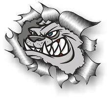 Clásico rasgada abierto Rasgado Metal Rip & Angry Bulldog Británico Pegatina de vinilo coche