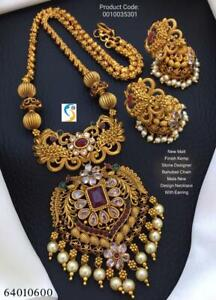 Gold Plated Indian Traditional Bollywood CZ AD New Pendent Necklace Earring rajh