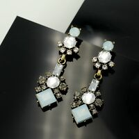 Earrings Nails Golden Long Square Blue Pale Grey Art Deco BB4