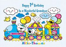 Personalised 1st birthday card train  animals 2nd 3rd son grandson  any age