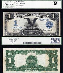 VERY NICE Bold & Crisp VF+ 1899 $1 BLACK EAGLE Silver Cert.! LCG 25! H7838732H