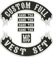 """13"""" Custom Embroidered Flame Full Vest Set Patches MC Biker"""