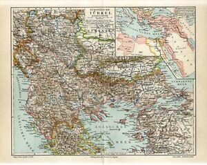 1907 EUROPEAN TURKEY OTTOMAN EMPIRE GREECE BULGARIA SERBIA MONTENEGRO Map dated