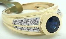 GENUINE 1.10 Carats BLUE SAPPHIRE & DIAMONDS 14k Gold RING ** FREE APPRAISAL **