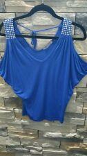 In joy clothing electric blue rhinestone shoulder strap top sz L