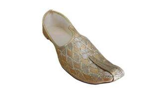 Men Shoes Khussa Loafers Indian Handmade Jutti Sherwani Gold Flip-Flops US 6-12