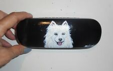Samoyed dog Hand Painted Eyeglass Glasses Hard Case Vegan Box