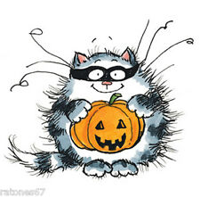 New Penny Black CATMAN Wood Rubber Stamp Halloween Cat Kitty Masquerade Pumpkin