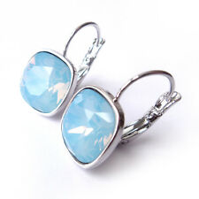 Sky Blue Pastel Drop Earrings made w/ 12mm Cushion Cut Swarovski Crystal Prom