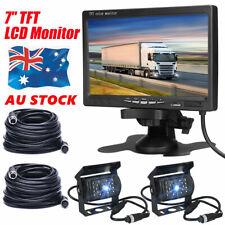 2x Rear View Reversing IR Camera 7'' Monitor 20m Cable Truck Bus Van Caravan