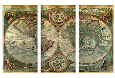 "Old World Atlas Latin Maps Flags CANVAS WALL ART PICTURE - 3 PANELS 41"" X 26"""