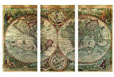"Antiguo Atlas Del Mundo América Mapas banderas de tela pared arte imagen - 3 paneles 41 ""X 26"""