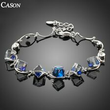 Blue Cube Austrian Crystal Link Chain Bracelet 18k White Gold Plated Jewelry