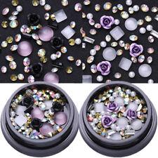 2 Boxen AB Farbe Metall Rose Opal Kristall Strasssteine 3D Nail Art Decoration
