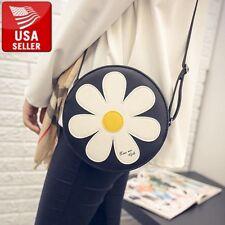 Fashion Women Round Flower Shoulder Handbag Purse Tote Cute Crossbody Bag Black