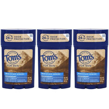 3 Pack Tom's of Maine Men's Long Lasting Deodorant, Mountain Spring, 2.25oz Each