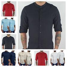 Camicia uomo di lino sartoriale casual Collo Coreana Bottoni Manica lunga Slim