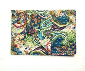 Indian Handmade Cotton Kantha Quilt Paisley Print Multicolored Twin Size