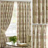 """Beige Tape Top Curtains Chintz Tree Readymade Lined 3"""" Pencil Pleat Curtain Pair"""