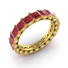 3.75 Ct Natural Ruby Eternity Engagement Ring 14K Yellow Gold Diamond Size N O P