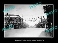 OLD LARGE HISTORIC PHOTO INGLEWOOD VICTORIA, VIEW OF BROOKES ST & STORES c1920
