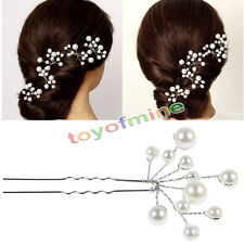 2pcs Moda de boda de novia dama de honor Perlas horquillas para el cabello clips