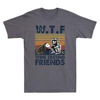 Raccoon Animal Wtf Wine Tasting Friends Vintage Men's T-Shirt Short Sleeve Tee
