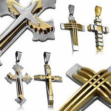 Colgante Cruz Crucifijo Acero Para Collar Cadena Mujer Hombre Brilliante Joyeria