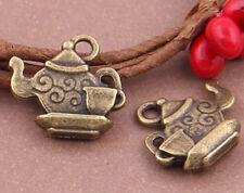 PJ705 15pc Antique Bronze teapot Pendant Bead Charms Accessories wholesale