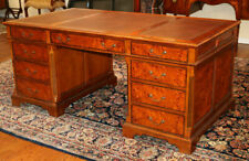 Gorgeous Solid Walnut & Burled Walnut Partners Desk Drawers Both Sides