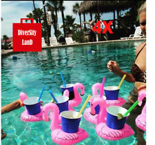 4X Inflatable Flamingo Drink Holder Floating Cup Holders Pool Can Holder