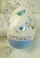 Pretty Marjolein Bastin Porcelain Egg With Butterflies Birds Blue Flowers