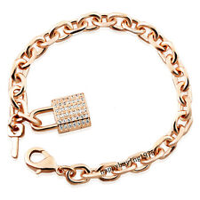 Luxury Key Lock 18K Rose Gold Plated Zircon Fashion Chain Woman Bracelet 713
