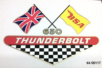 BSA 650 Thunderbolt crossed flags 6 color side panel transfers, 1968 A65T, pair