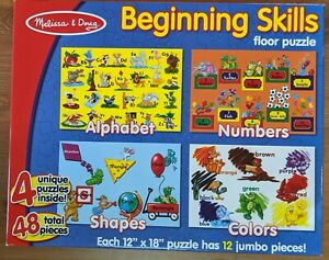 """MELISSA & DOUG (4) Extra Large Floor Puzzles in 1 Box -Each Puzzle 12"""" x 18"""""""