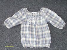 womens clothes george cream/blue checked gypsy top size 10