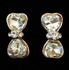 USA EARRING Rhinestone Crystal GEMSTONE Fashio unique cute gold Bowknot