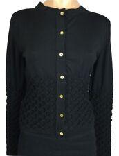 Mark Fast New Size 10 Black Cardigan Sweater Wool/ Lycra Woven Design MSRP $870
